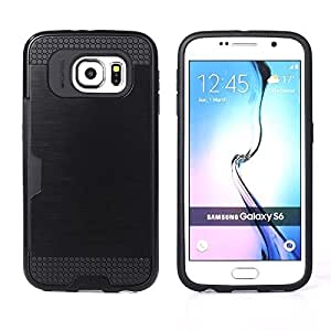 Bracevor Dual Layer Card Slot Shimmer Back Case Cover for Samsung Galaxy S6 - Jet Black