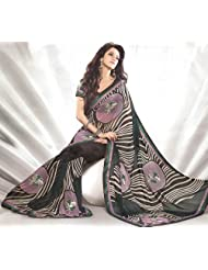Exotic India Mauve And Black Printed Sari With Patch Border And - Mauve