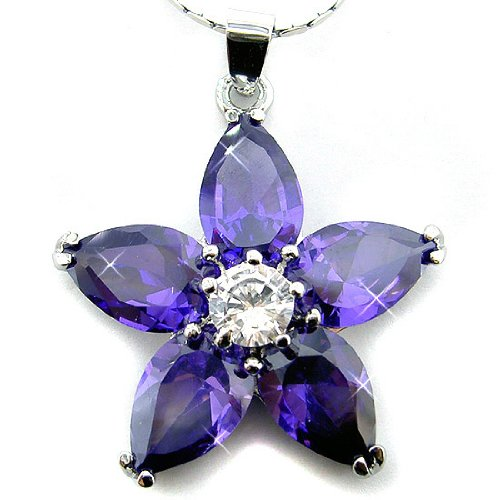 Amethyst Color CZ Flower Silver Tone Pendant with 18Necklace