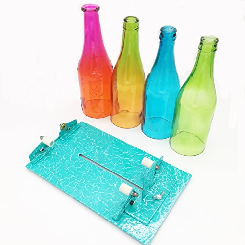 Glass Bottle Cutter, [Gen-2 Version] AceList Stained Glass Cutting Tool Kit Glass Wine Jar Etching for DIY Glassware, Lamps, Vases, Candle Holders - for Larger, Longer Bottle and Jar- Turquoise (G2 Glass Bottle Cutter compare prices)