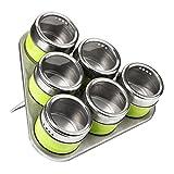 Premier Housewares 0509882 Set di 6 Portaspezie con Vassoio Triangolare Magnetico, Acciaio Inossidabile, Verde