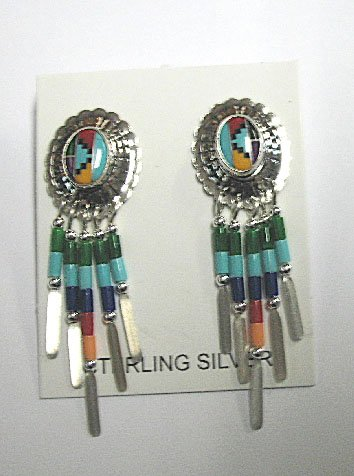Native American Long Sterling Silver Earrings with Genuine Multi Stones - Buy Native American Long Sterling Silver Earrings with Genuine Multi Stones - Purchase Native American Long Sterling Silver Earrings with Genuine Multi Stones (Roger Enterprises, Apparel, Departments, Accessories, Women's Accessories)