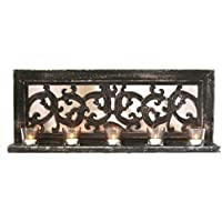 Decorative Wood Framed Mirror Candle Holder With Glass Votives - B016ZJ78FE