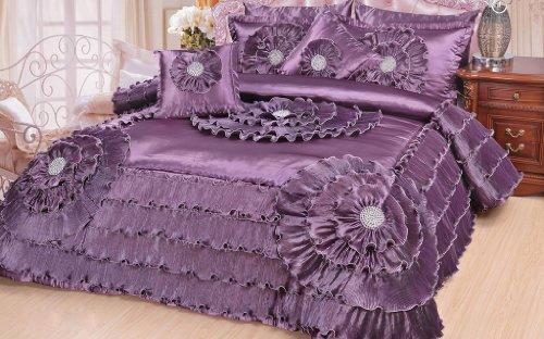 Dada Bedding Plum Quinceanera Sateen Comforter Set King Victorian 5 Pieces, Purple front-844608
