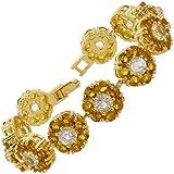 Women Gift Rhinestone Round Cut Tennis Statement Gold Plated Fashion Bracelet