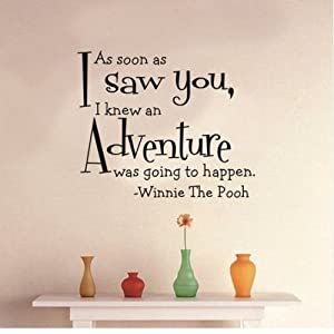 MZY LLC (TM) As soon as I saw you I knew an adventure was going to happen Winnie the Pooh - Removeable Wall Decal Sticker Art Vinyl