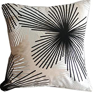 Black Silver Throw Pillow : Flocking Dandelion Camel Black Silver Throw Pillow Case Decor Cushion Covers Square 1818 Inch ...