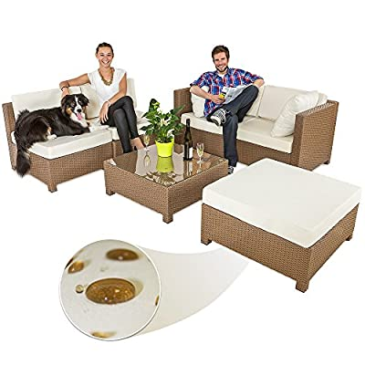 TecTake Luxury Rattan Aluminium Garden Furniture Sofa Set Outdoor Wicker brown + 2 Sets For Exchanging The Upholstery
