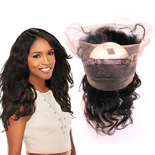 BeiKaShang 8A Virgin Peruvian Hair 360 Lace Frontal Closure Body Wave Human Hair Ear To Ear 360 Lace Frontal Closure Middle Part 16 inch