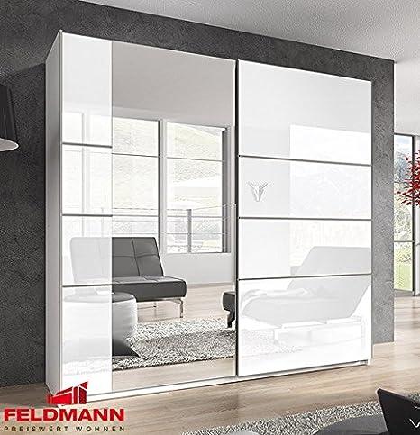 Schwebeturenschrank Kleiderschrank 54555 weiß Hochglanz Spiegel 200cm