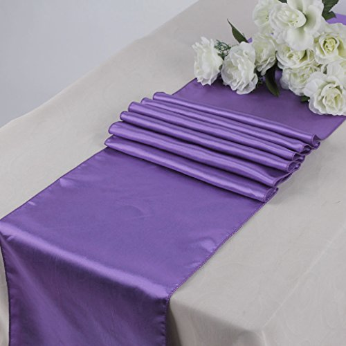 MDS Pack Of 10 Wedding 12 x 108 inch Satin Table Runner Wedding Banquet Decoration- Lavender
