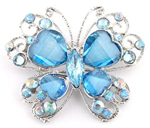 Ladies Blue and Silver Butterfly Brooch & Pin Pendant with Stones