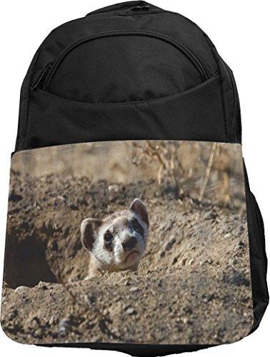 Rikki Knight UKBK Black Footed Ferret Tech BackPack - Padded for Laptops & Tablets Ideal for School or College Bag BackPack