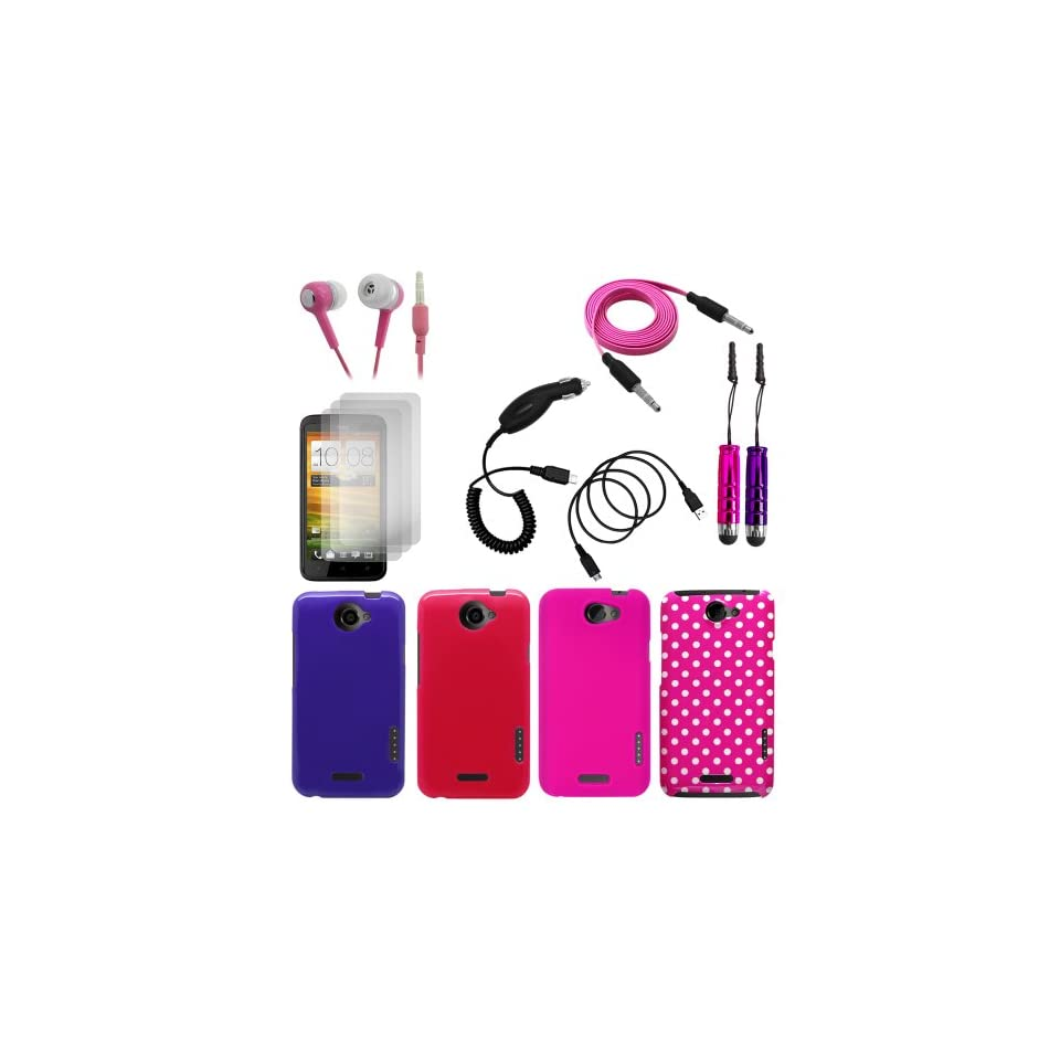 Cbus Wireless 13IN1 Pack Bundle for HTC One X / One X+   TPU Silicone & Hard Cover Case, Flat Noodle Audio Cable & Data Cable, Car Charger, Three LCD Screen Protectors, Headphone Handset, Stylus Pen Cell Phones & Accessories
