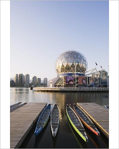 photographic-print-of-colourful-rowing-boats-in-front-of-telus-science-world-on-false-creek