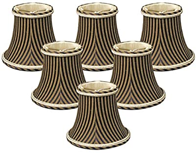 Royal Designs Decoratie Trim Black/Antique Gold Striped Chandelier Lamp Shade