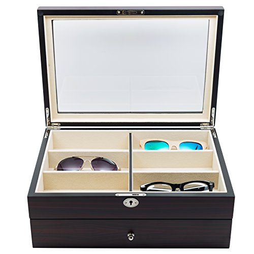 12-piece-large-ebony-walnut-wood-eyeglass-sunglass-two-level-glasses-display-case-with-drawer-storag