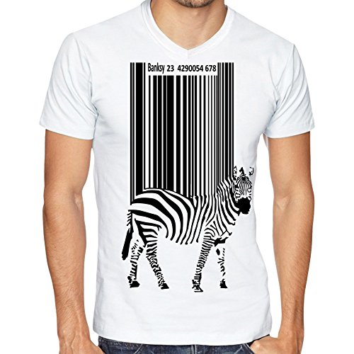 Fusion Clothing UK Men's White V Neck T-Shirt 100% Cotton Bar Code Zebra
