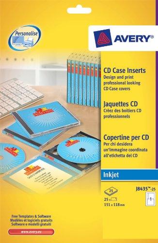 AVERY Pochette de 25 jaquettes pour CD spécial jet d encre couleur J8435-25 AVERY Pochette de 25...