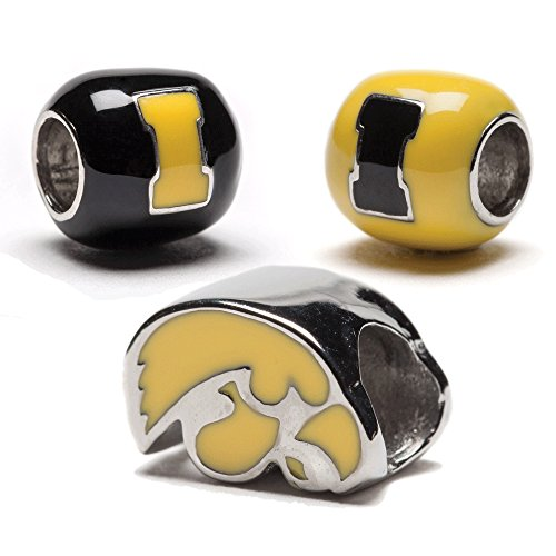 Iowa Hawkeyes Bead Charms - Set of 3 - 1 Hawk + 2 Round Hawkeyes Beads - Fits Pandora & Others