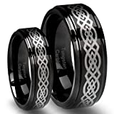 His & Hers 8MM/6MM Tungsten Carbide Wedding Band Ring Set Black plated with Celtic Design (Available Sizes 4-15 Including Half Sizes)