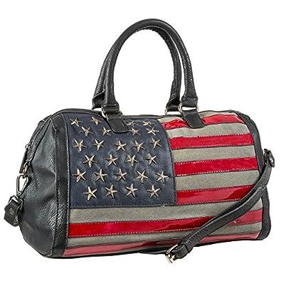 MKF Collection American Flag Designed Hobo Duffel Bag (Black)
