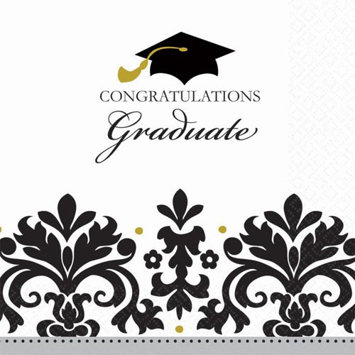 Graduation 'Black & White Grad' Large Napkins (36ct)
