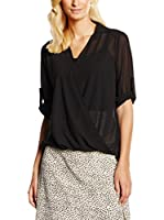 William de Faye Blusa Seda Top Faux Cache Cœur (Negro)