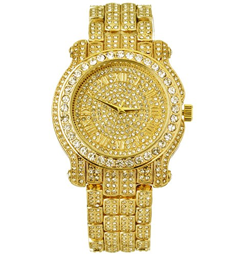 Mens Hip Hop Luxury Iced Out Techno Pave Watch Gold Tone Heavy Bezel Case Band Simulated Diamond 7341 GG (Watches Techno Pave compare prices)
