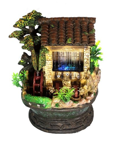 House with Water Wheel and Tapper Color LED Lights Indoor Water Fountain