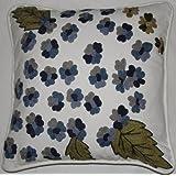 Crewel Pillow Montana Blue On White Cotton Duck (18X18)