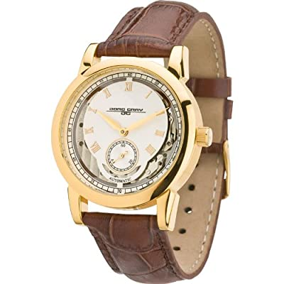 Jorg Gray Gold-Tone Stainless Steel Watch Brown Crocodile Leather JG7300-11