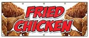 """48""""x120"""" FRIED CHICKEN BANNER SIGN restaurant signs stand Maryland southern"""