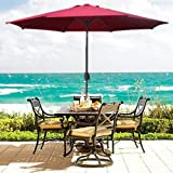 Patio Umbrella 9 Aluminum Patio Market Umbrella Tilt w/ Crank Outdoor Burgundy