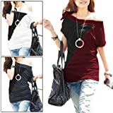 Allegra K Woman Asymmetric Neck Off Shoulder Tunic Shirt