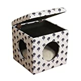 HomePop Hideaway Ottoman Dog/ Cat Bed, Solid wood frame with furniture grade construction