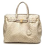 Designer Inspired London Office Tote Ostrich Finish - Beige