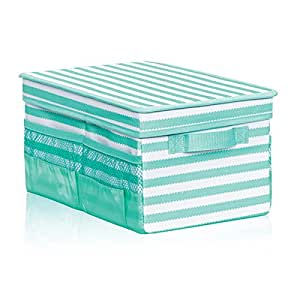 Thirty one flip top organizing bin in for Turquoise bathroom bin