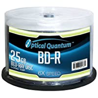 50-Pack Optical Quantum 25GB 6X 25GB BD-R Blu-Ray Disc Spindle