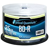 Optical Quantum OQBDR06LT-50 6X 25GB BD-R Single Layer Blu-Ray Recordable Blank Media Logo Top, 50-Disc Spindle