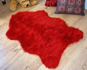 Deep red faux fur sheepskin style rug single 70 x 100 cm washable