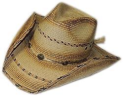 BULL-SKULL HATS, PALM LEAF COWBOY HAT, PINCH 302
