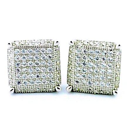 8Mm Wide Cube Shaped Stud Earrings Sterling Silver Screw Back
