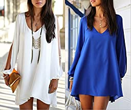 Superstart Blue Women Casual Sexy Dress Irregular V-neck Chiffon Loose A-line Dress Skirt for Women in Summer
