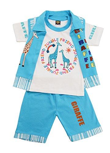 Pride Apparel Kids Wear Cotton Printed Top with coat & Bottom Boys 3 Combo set (SVS0000846BLUE_BLUE_Large)