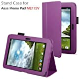 Exact PU Leather Case Cover With Stand for ASUS MeMO Pad ME172V 7-Inch Android Tablet Purple