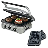 Cuisinart 5-in-1 Grill Griddler Panini Maker Bundle with Bonus Waffle Attachment (GR-4N) - Includes Grill and Waffle Plates