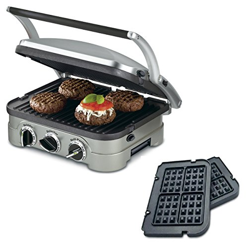 Cuisinart 5-in-1 Grill Griddler Panini Maker Bundle with Bonus Waffle Attachment (GR-4N) - Includes Grill and Waffle Plates (Cuisinart Waffle Griddle Plates compare prices)