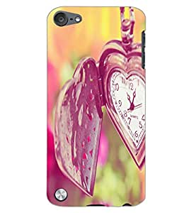 APPLE IPOD TOUCH 5 HEART CLOCK Back Cover by PRINTSWAG