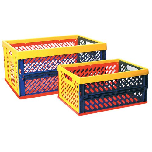 Ecr4Kids Ecr4Kids Collapsible Crates With Vented Sides- - Set Of 12, Multicolor, Plastic, Large- Set Of 6 front-993642